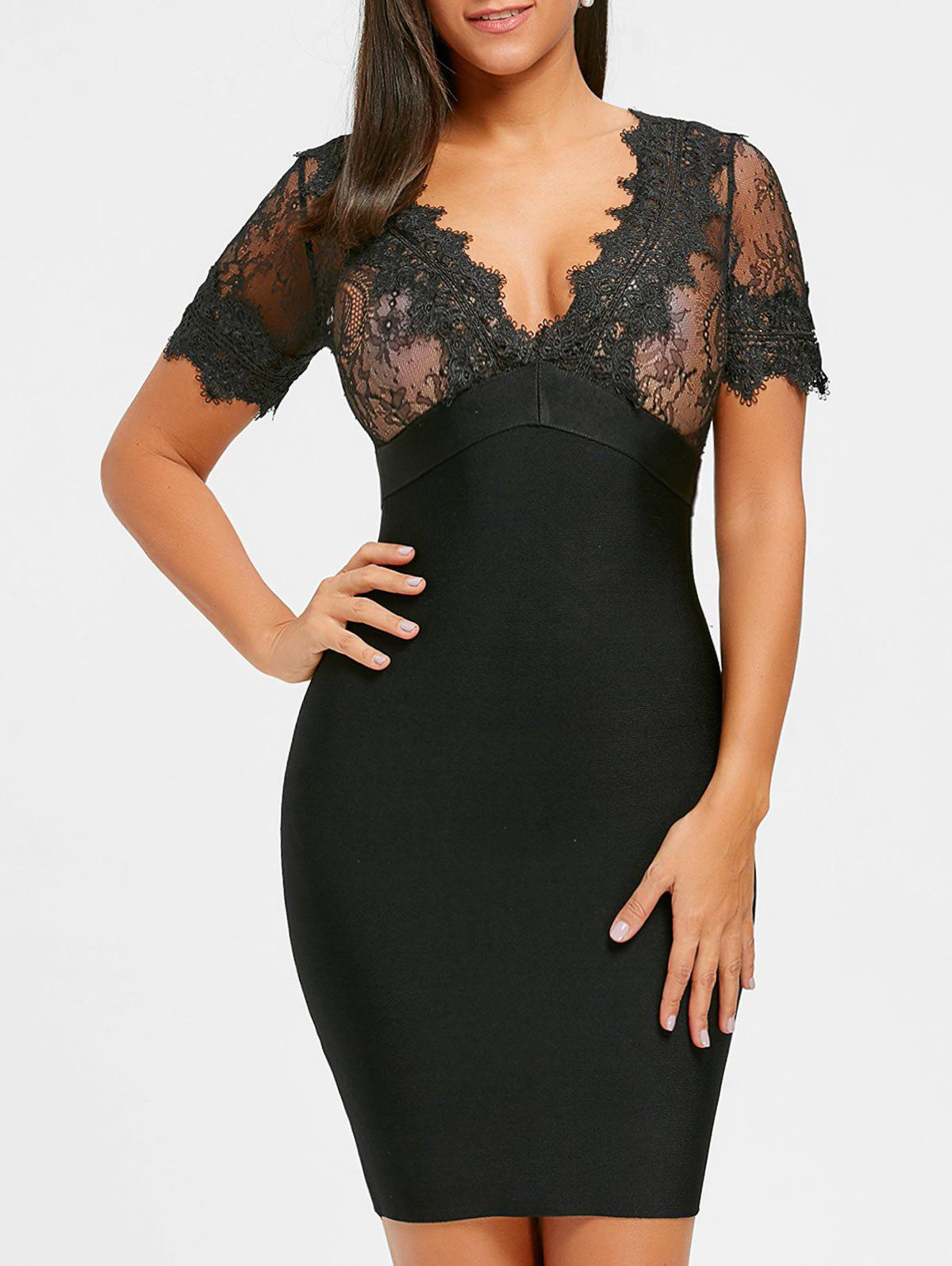 Lace Panel Plunging Neck Bandage Dress - BLACK L