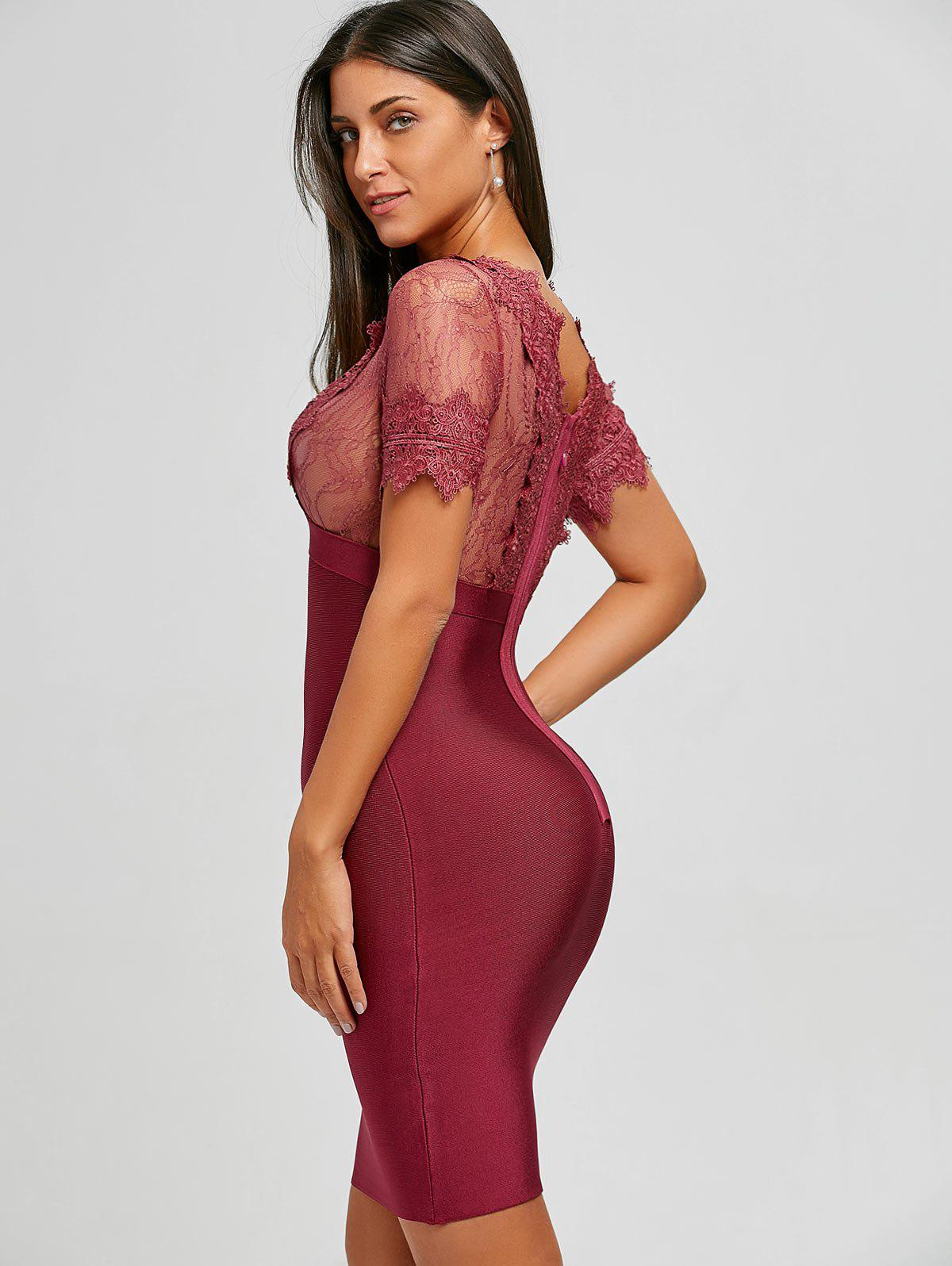 Lace Panel Plunging Neck Bandage Dress - RED L