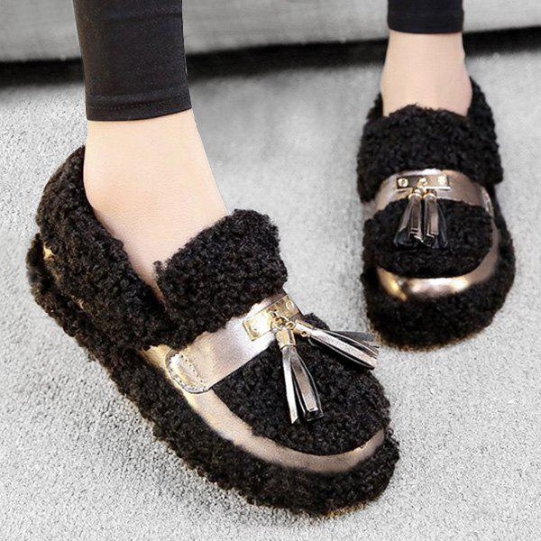 Dresslily Fuzzy Slip On Tassels Slip On Shoes