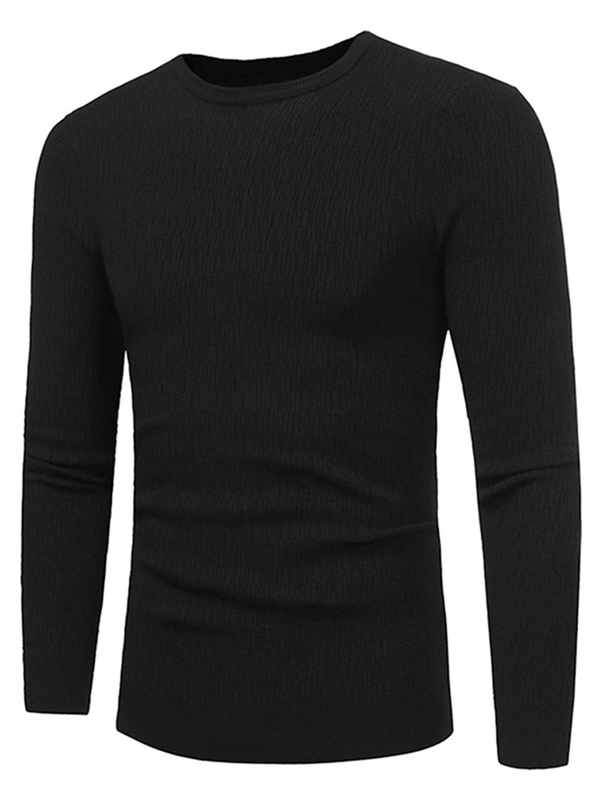 Stretchy Stripe Jacquard Pullover Sweater - BLACK 2XL