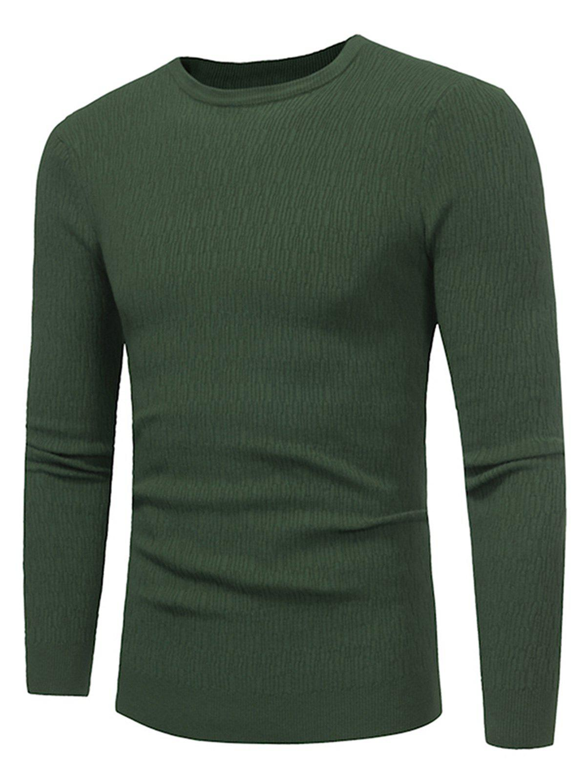 Stretchy Stripe Jacquard Pullover Sweater - GREEN 3XL