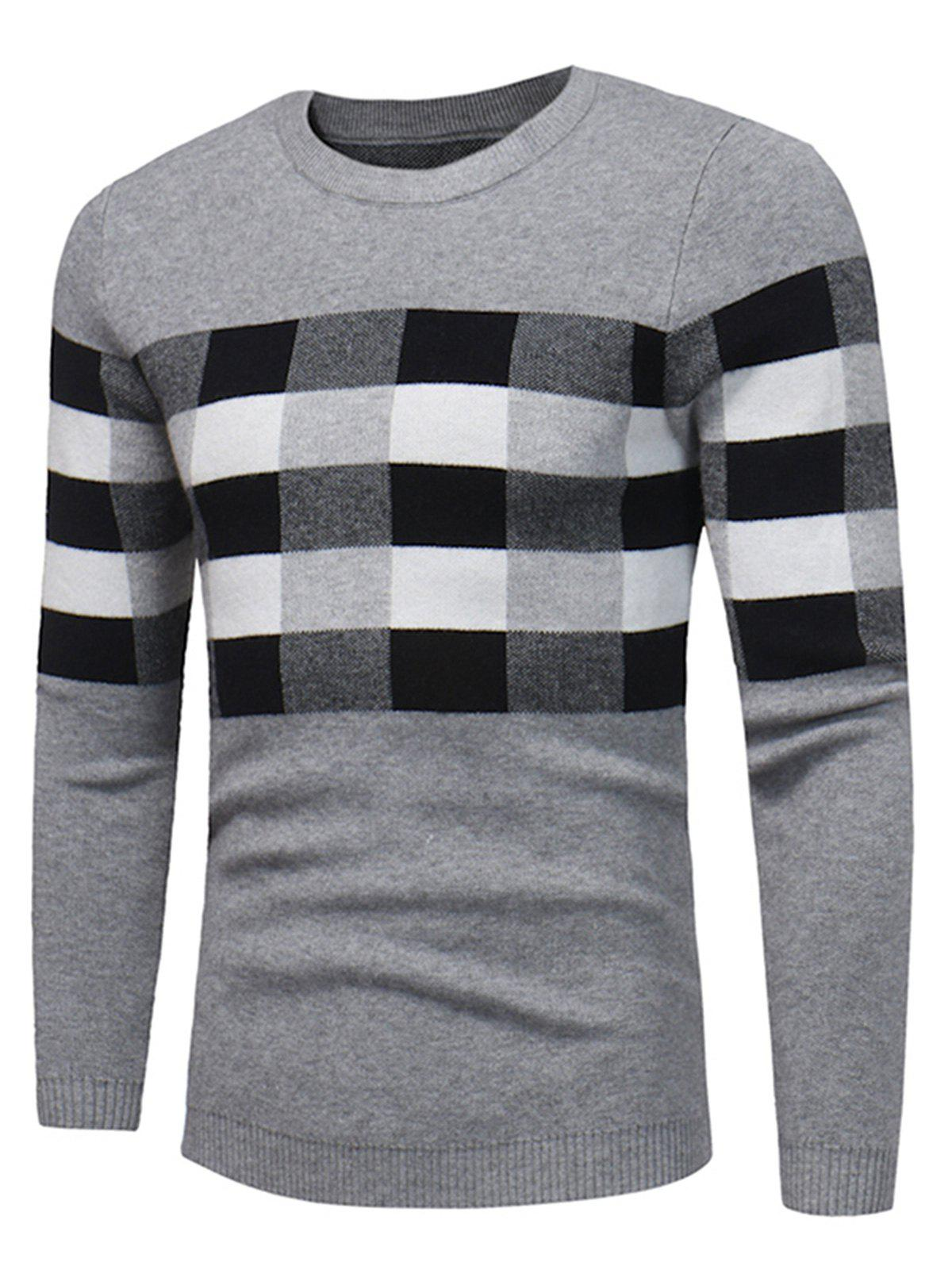 Plaid Color Block Pullover Sweater - GRAY L