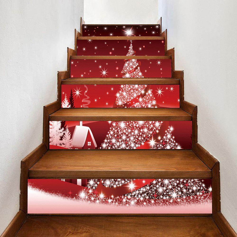 1893 Best Christmas On The Stairs Images On Pinterest: 2018 Christmas Star Tree House Pattern Stair Stickers RED