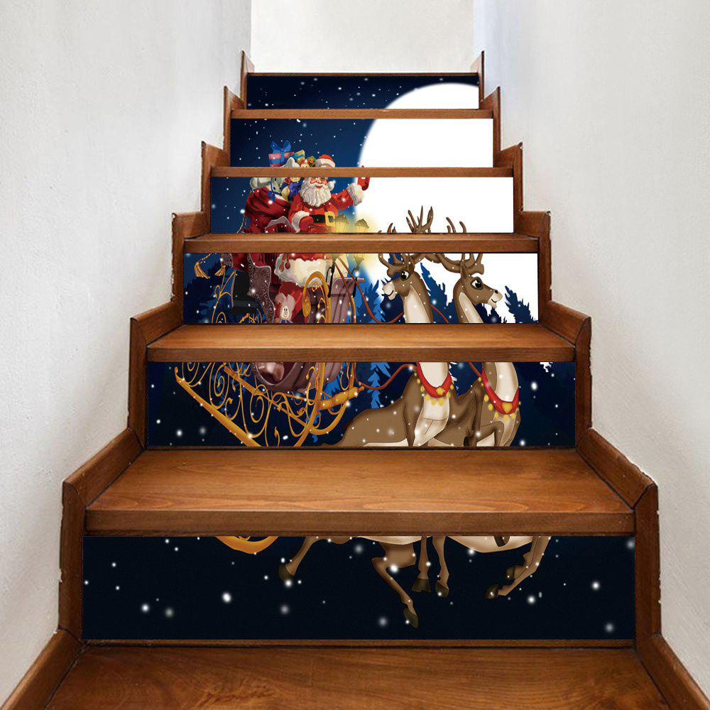 Christmas Moon Santa Sleigh Pattern Stair Stickers moon flac jeans