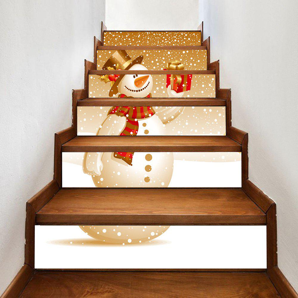 Snowy Christmas Snowman Pattern Stair Stickers christmas snowman pattern door stickers