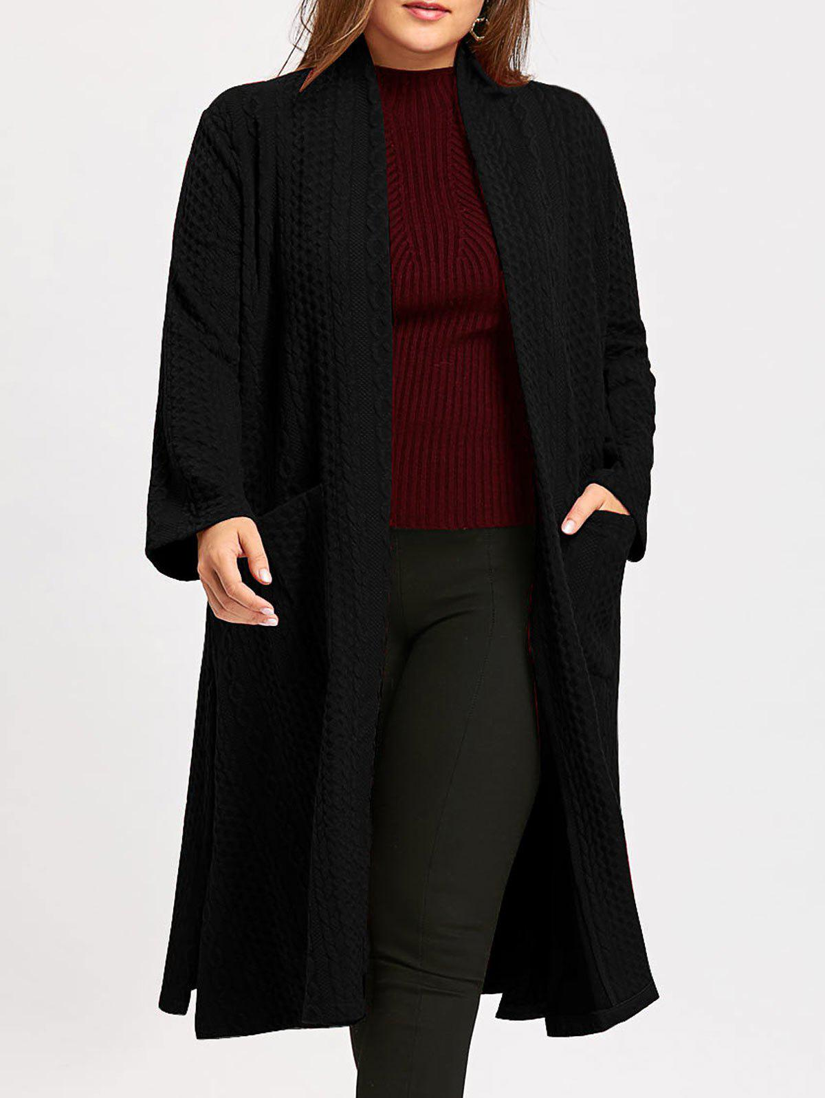 Collarless Plus Size Jacquard Slit Maxi Coat - BLACK ONE SIZE