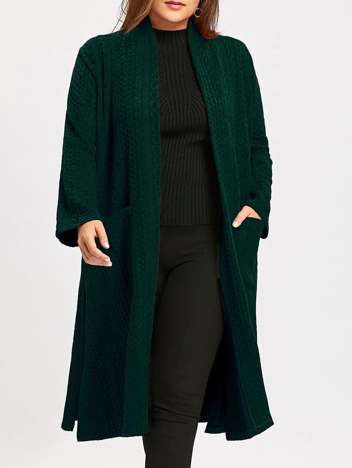 Collarless Plus Size Jacquard Slit Maxi Coat - BLACKISH GREEN ONE SIZE