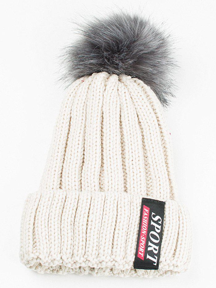 Letter Label Decorated Flanging Knitted Pom Beanie - WHITE