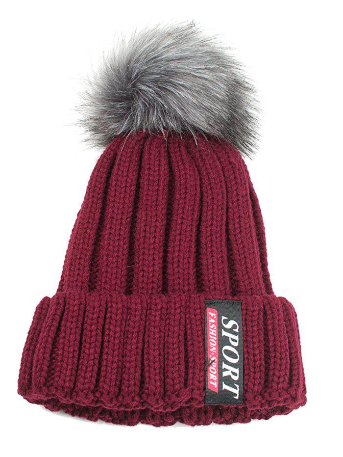 Letter Label Decorated Flanging Knitted Pom Beanie - WINE RED