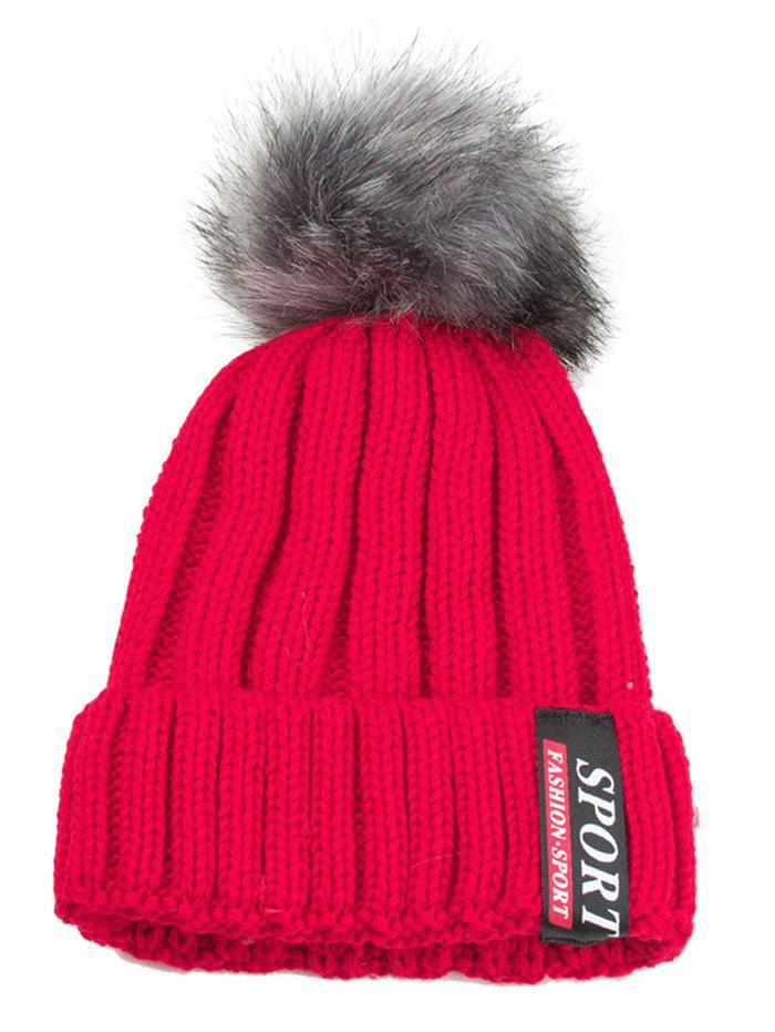 Letter Label Decorated Flanging Knitted Pom Beanie - RED