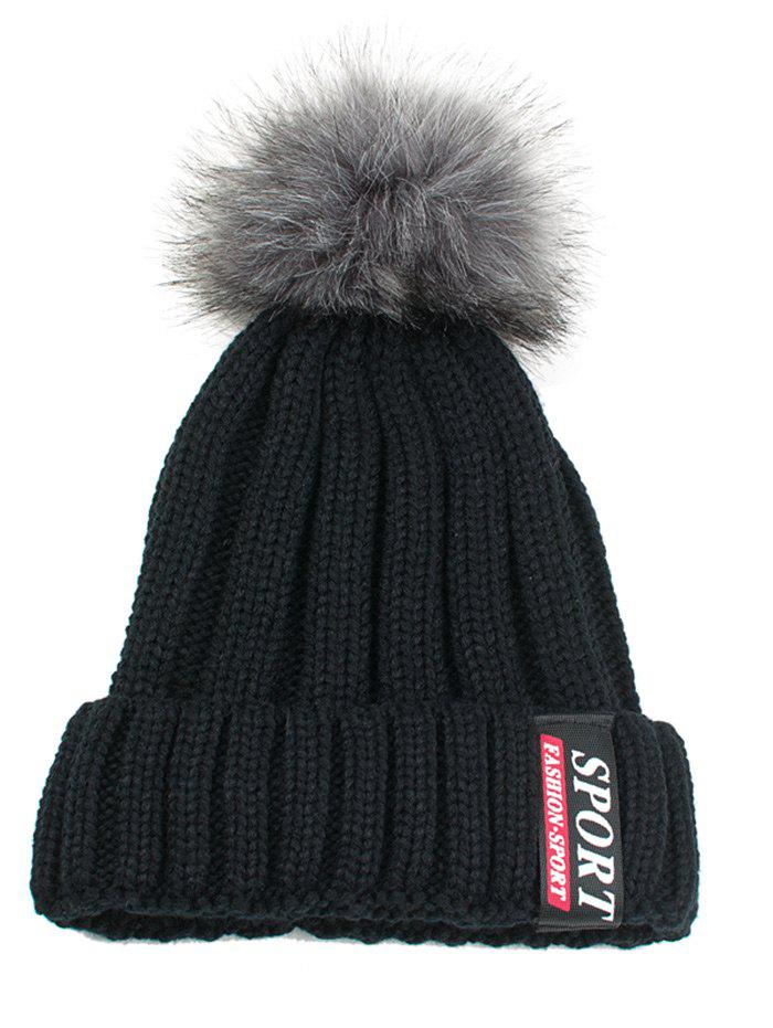 Letter Label Decorated Flanging Knitted Pom Beanie - BLACK