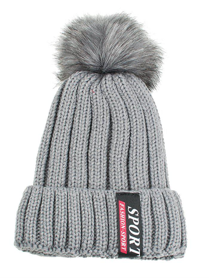 Letter Label Decorated Flanging Knitted Pom Beanie - GRAY