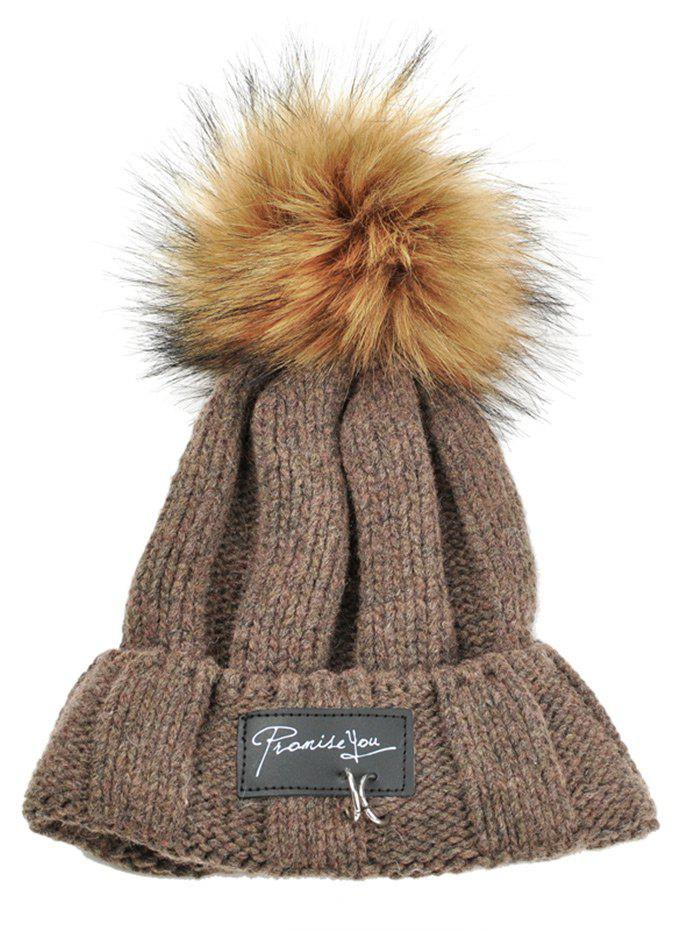Letter Label Decorated Fuzzy Ball Knitted Beanie - COFFEE