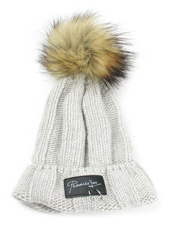 Letter Label Decorated Fuzzy Ball Knitted Beanie - LIGHT GRAY