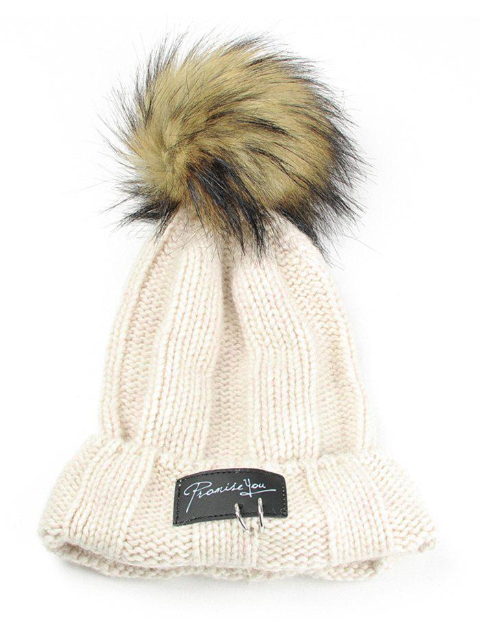 Letter Label Decorated Fuzzy Ball Knitted Beanie - BEIGE