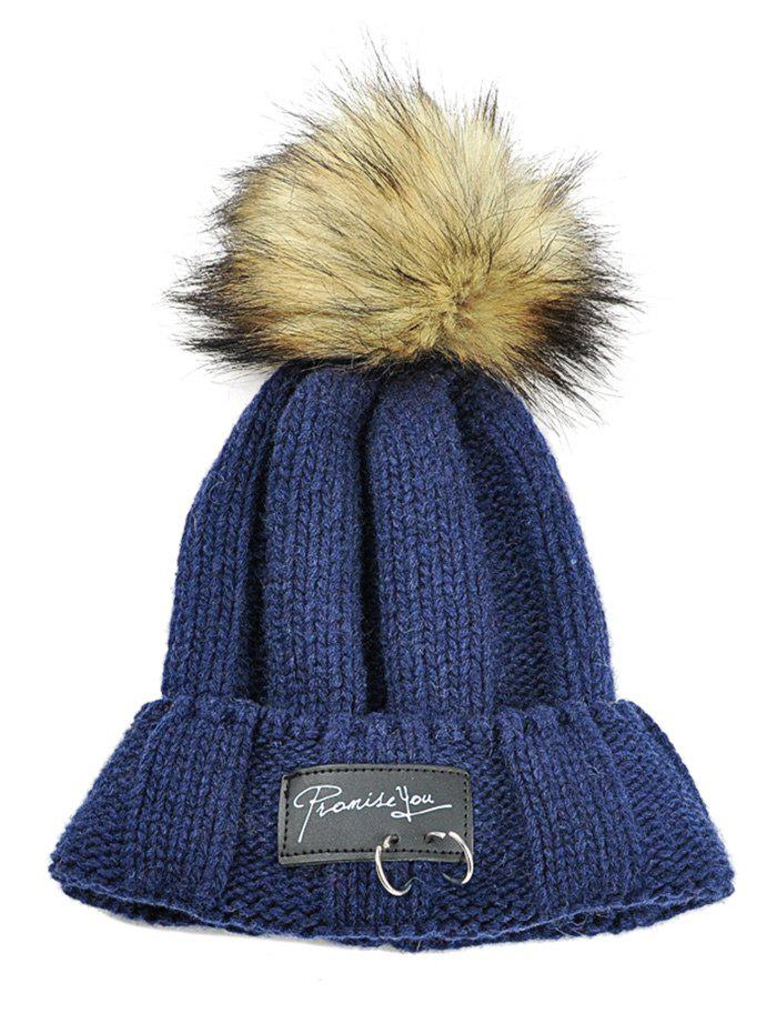 Letter Label Decorated Fuzzy Ball Knitted Beanie - CADETBLUE