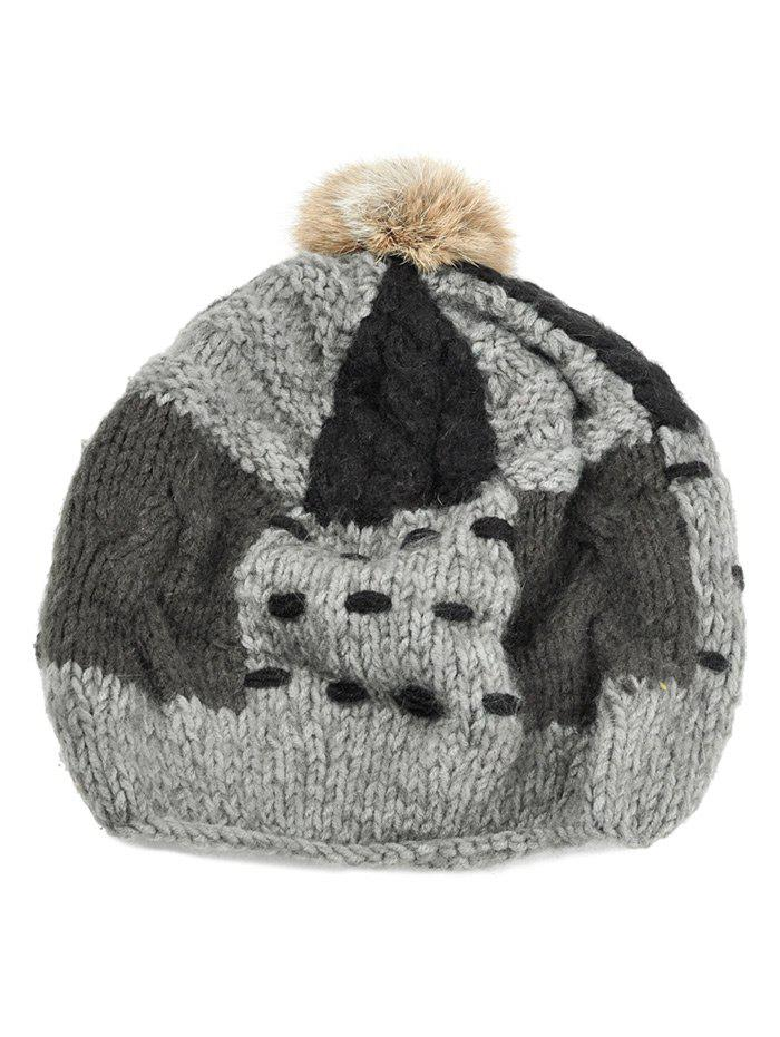Soft Fuzzy Ball Decorated Slouchy Knitted Beanie - GRAY