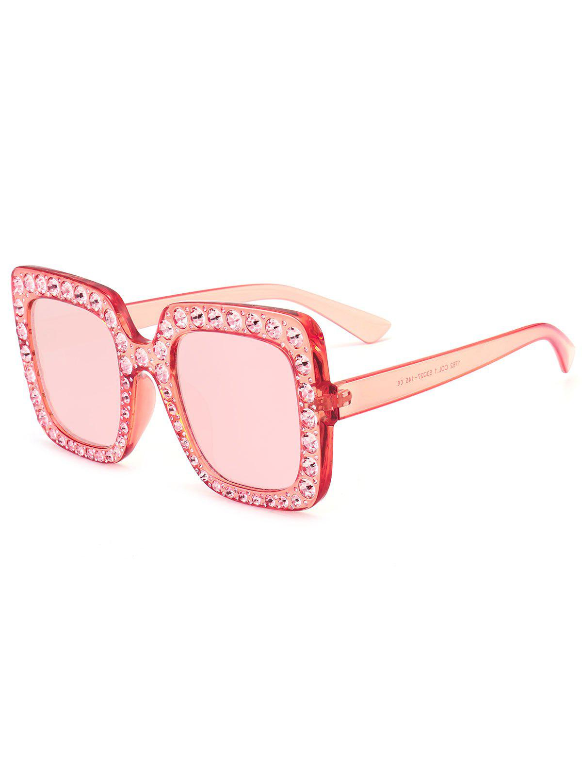 Anti UV Rhinestone Decorated Oversized Square Sunglasses - TRANSPARENT PINK FRAME / PINK LENS