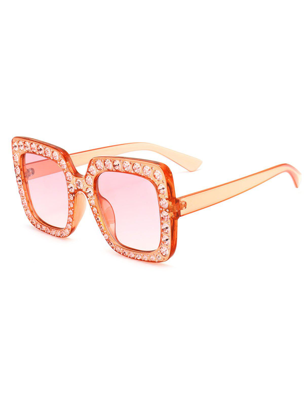 Anti UV Rhinestone Decorated Oversized Square Sunglasses - PINK FRAME/PINK LENS