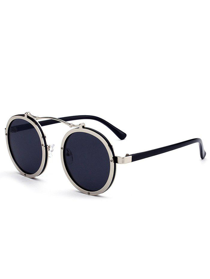Anti UV Crossbar Decorated Round Sunglasses - WHITE FRAME / GREY LENS