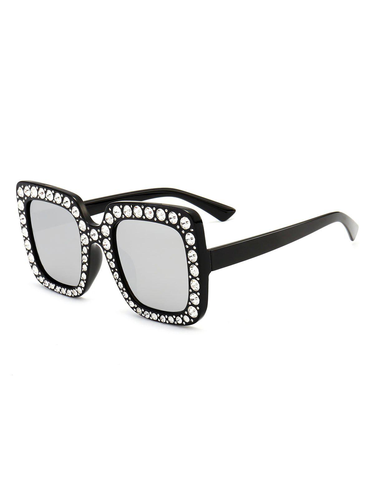 Anti UV Rhinestone Decorated Oversized Square Sunglasses - BLACK/MERCURY