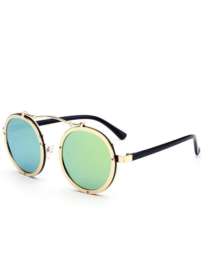 Anti UV Crossbar Decorated Round Sunglasses - GOLDEN