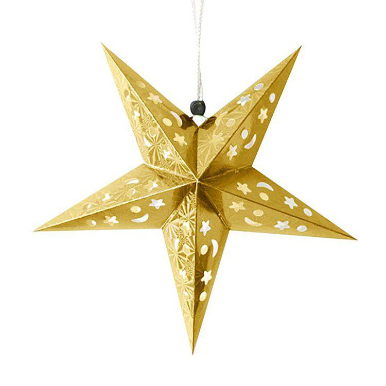 Christmas Star Shape Party Laser Hang Decorations 10Pcs - YELLOW