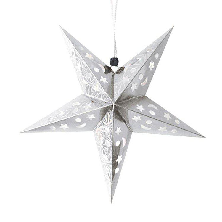 Christmas Star Shape Party Laser Hang Decorations 10Pcs - WHITE