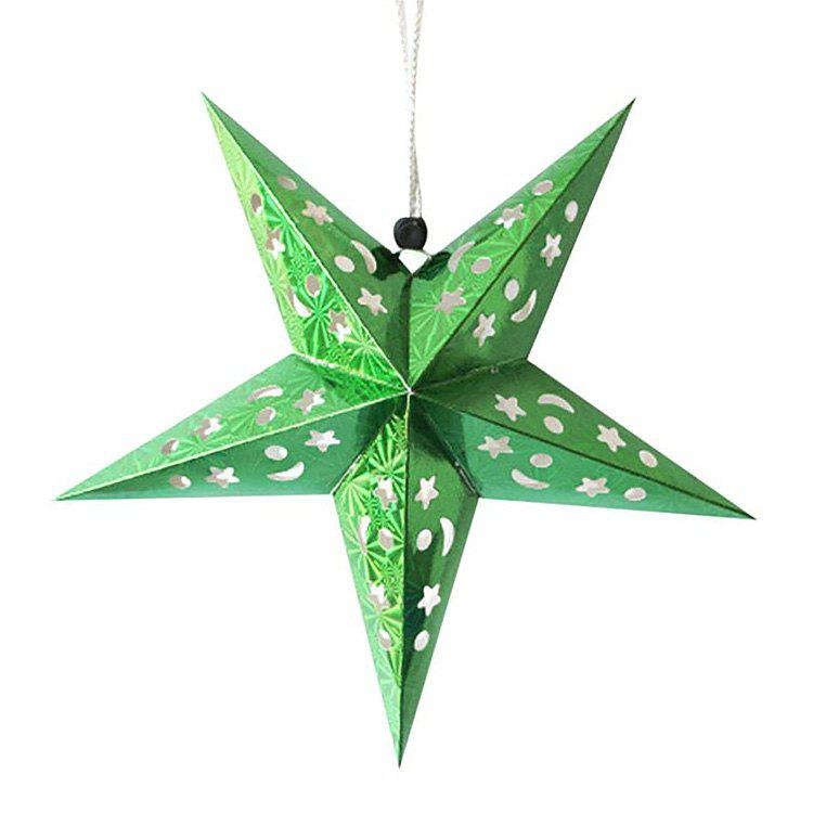 Christmas Star Shape Party Laser Hang Decorations 10Pcs - GREEN