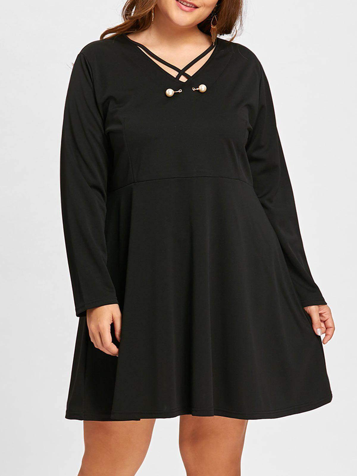 Plus Size Lattice Faux Pearl Embellished Dress - BLACK 5XL