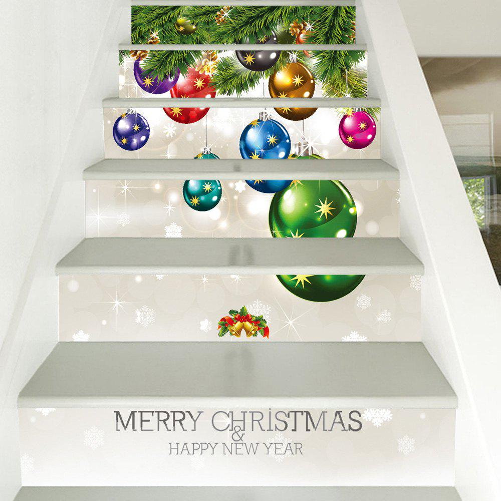 6Pcs Christmas Small Bells Print Home Stairs Stickers 3d setting sun stairs sticker 6pcs