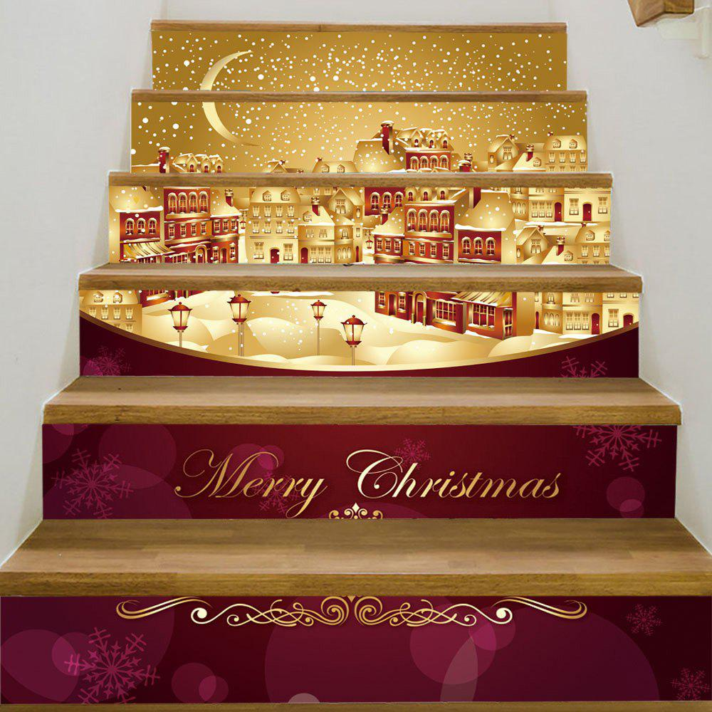 Christmas Night City Pattern Stair Stickers - COLORMIX 100*18CM*6PCS