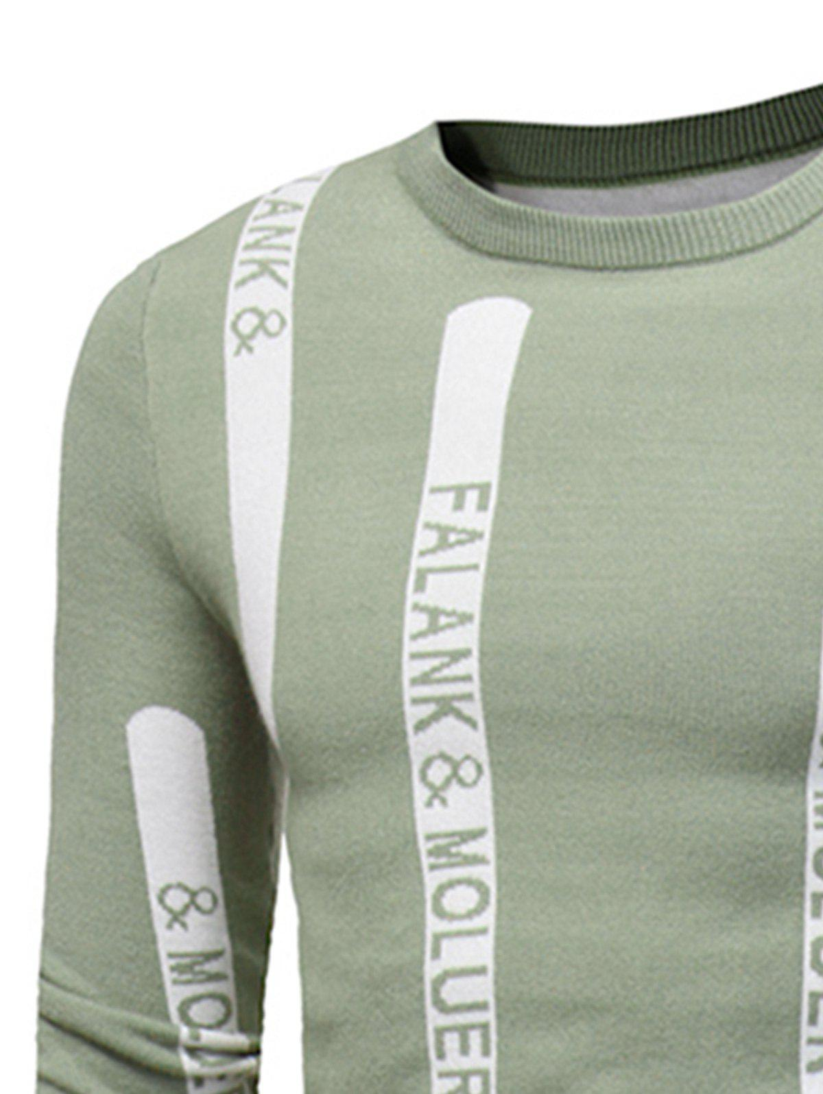 Graphic Print Ribbed Pullover Sweater - TEA COLORED L