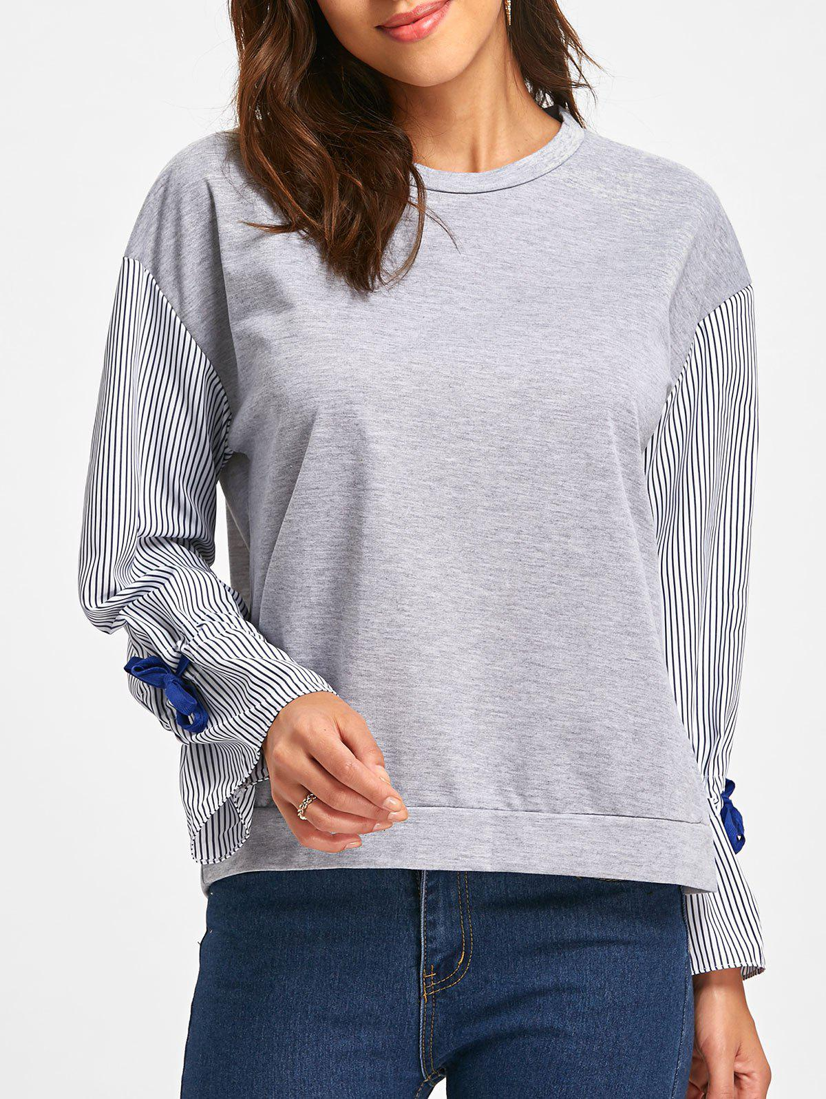 Bell Sleeve Striped Crew Neck Sweatshirt