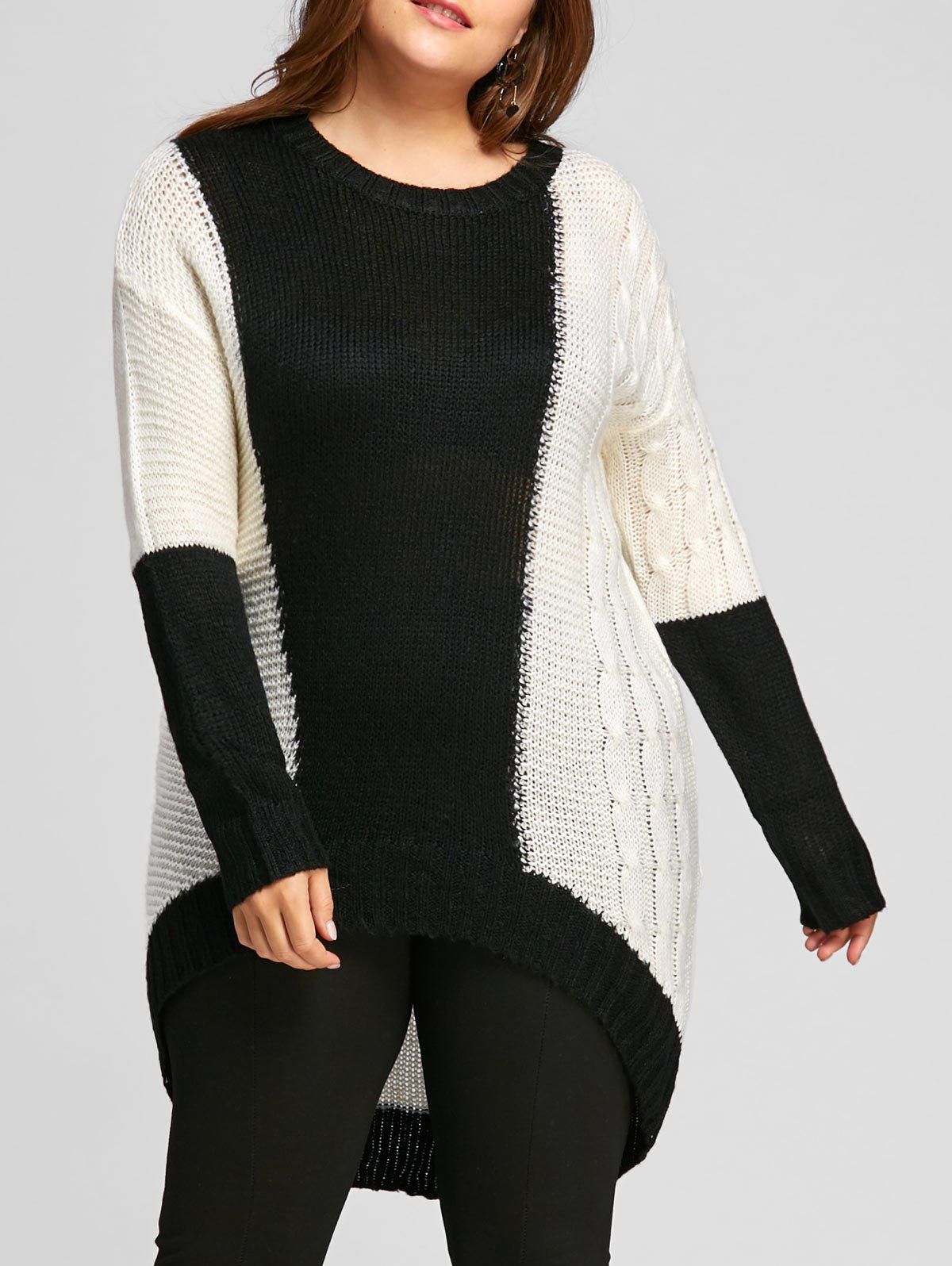 2018 Color Block Plus Size Chunky Knit High Low Sweater WHITE ...