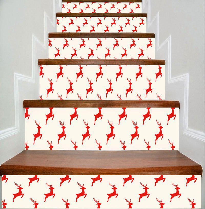 Christmas Deer Printed DIY Decorative Stair Stickers - COLORMIX 100*18CM*6PCS