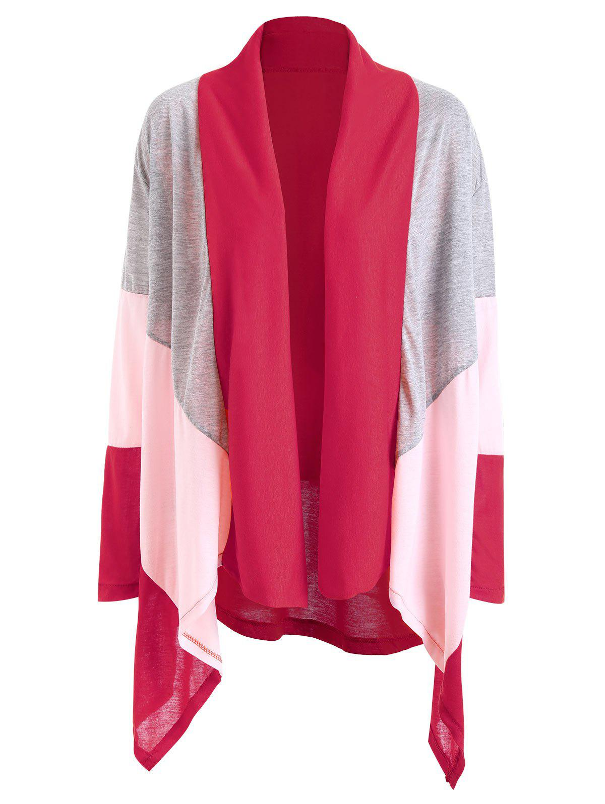 Shawl Collar Color Block Asymmetric Cardigan - TUTTI FRUTTI XL