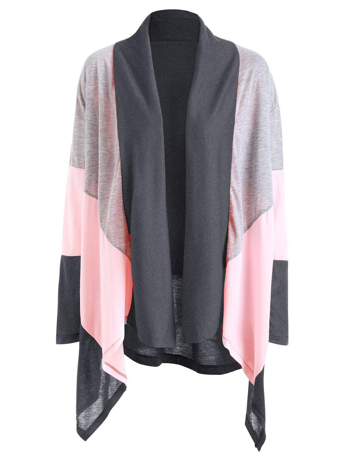 Shawl Collar Color Block Asymmetric Cardigan - DEEP GRAY XL