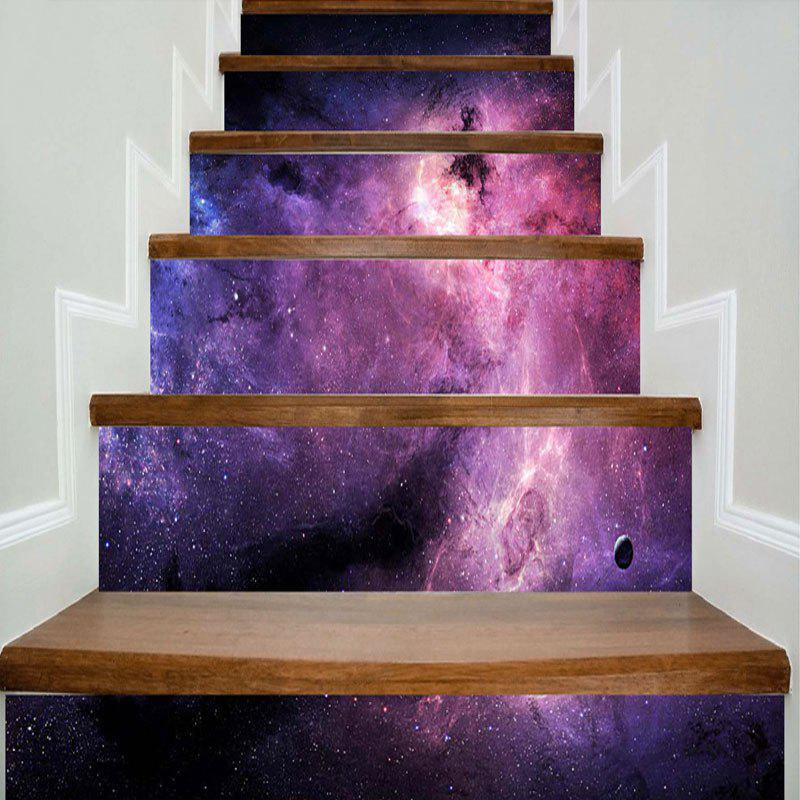 Galaxy Print Decorative DIY Stair Stickers - STARRY SKY PATTERN 100*18CM*6PCS