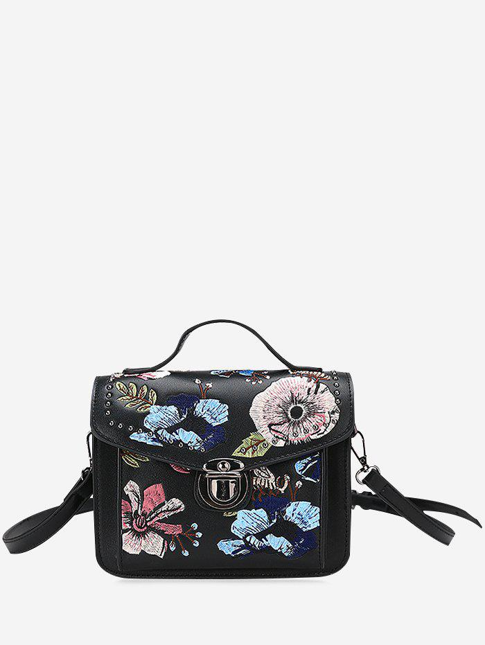 2017 Floral Embroidery Studs Crossbody Bag BLACK In Crossbody Bags Online Store. Best White Tote ...