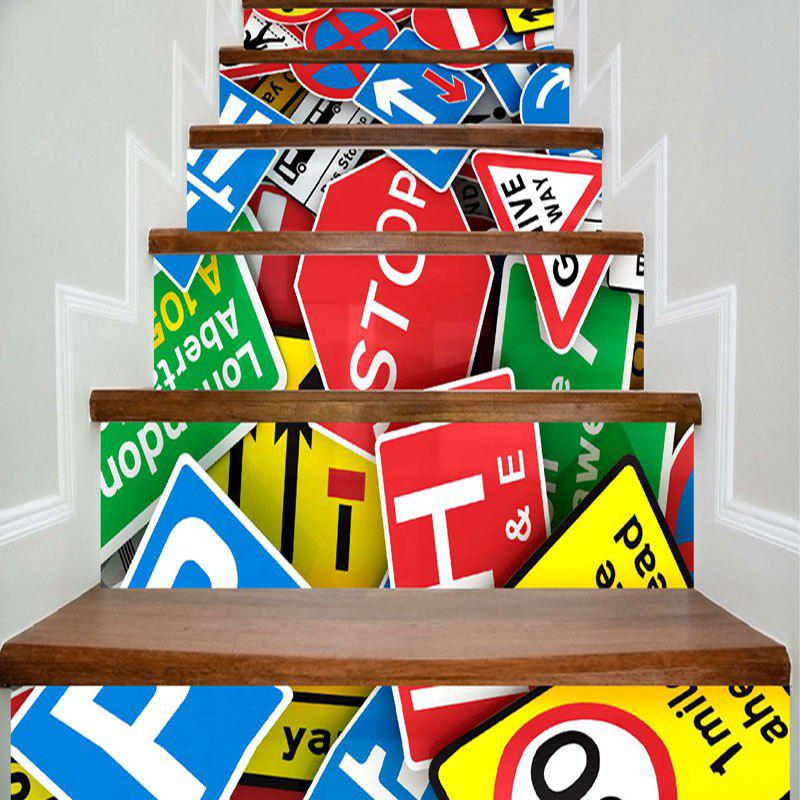 Traffic Sign Print DIY Home Decor Stair Stickers - COLORFUL 100*18CM*6PCS