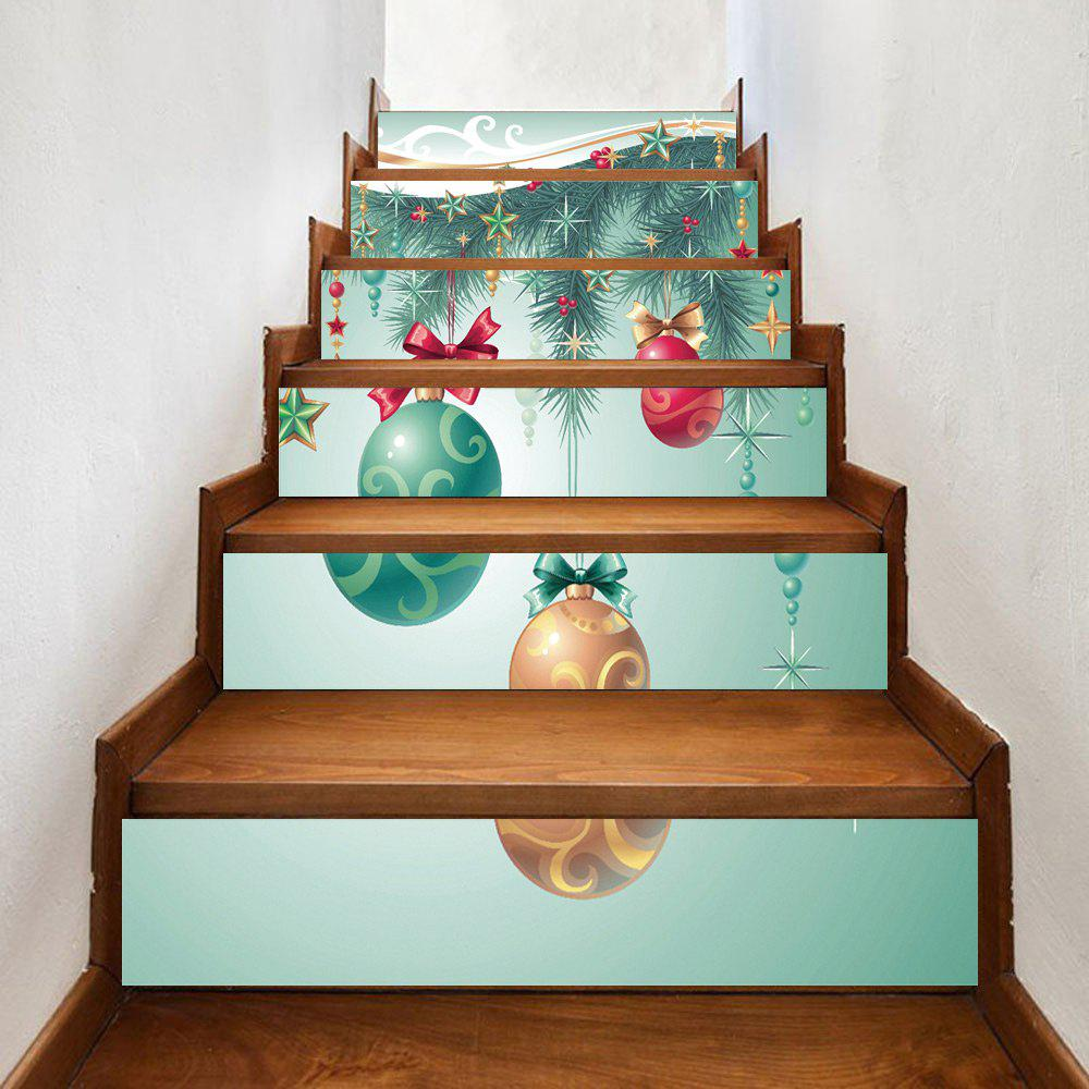 Christmas Balls Hangings Printed Home Stairs Stickers 6Pcs - COLORMIX 100*18CM*6PCS