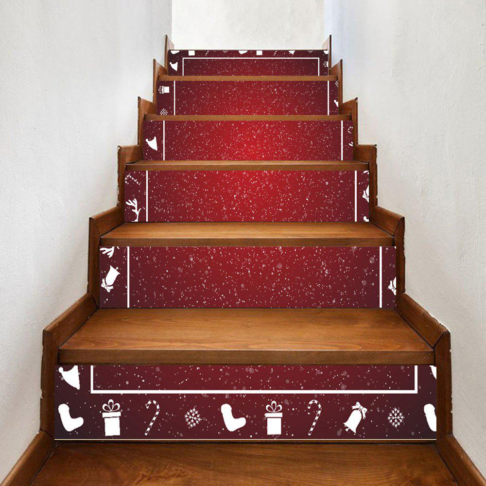 Snowy Christmas Theme Pattern Stair Stickers - DEEP RED 100*18CM*6PCS