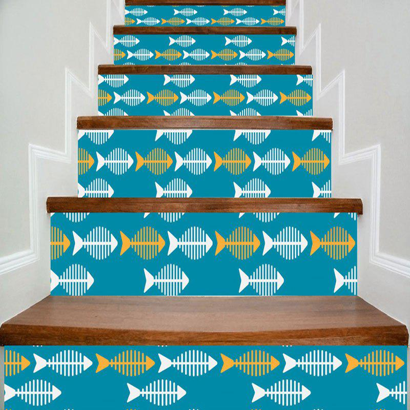 Fish Bone Pattern Home Decor DIY Stair Stickers - multicolorCOLOR 100*18CM*6PCS