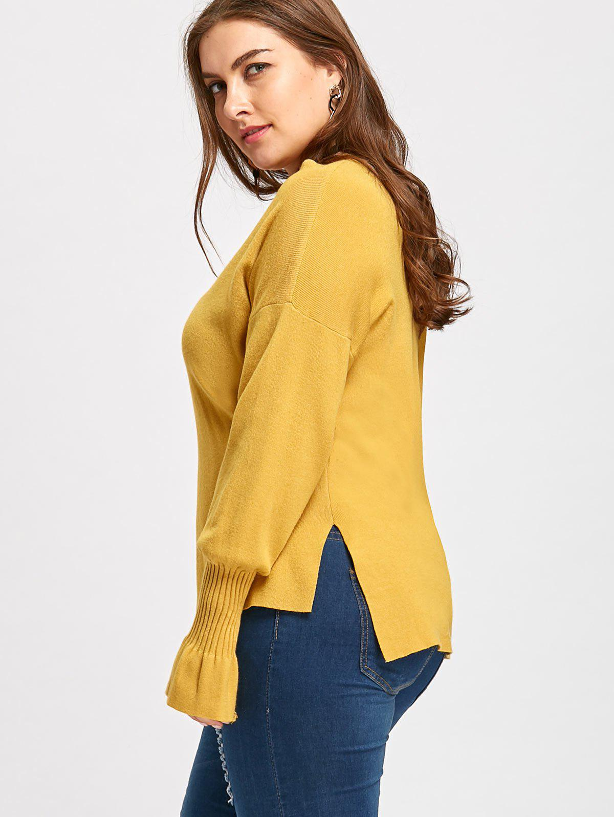 2018 Flounce Lantern Sleeve Plus Size V Neck Sweater YELLOW XL In ...
