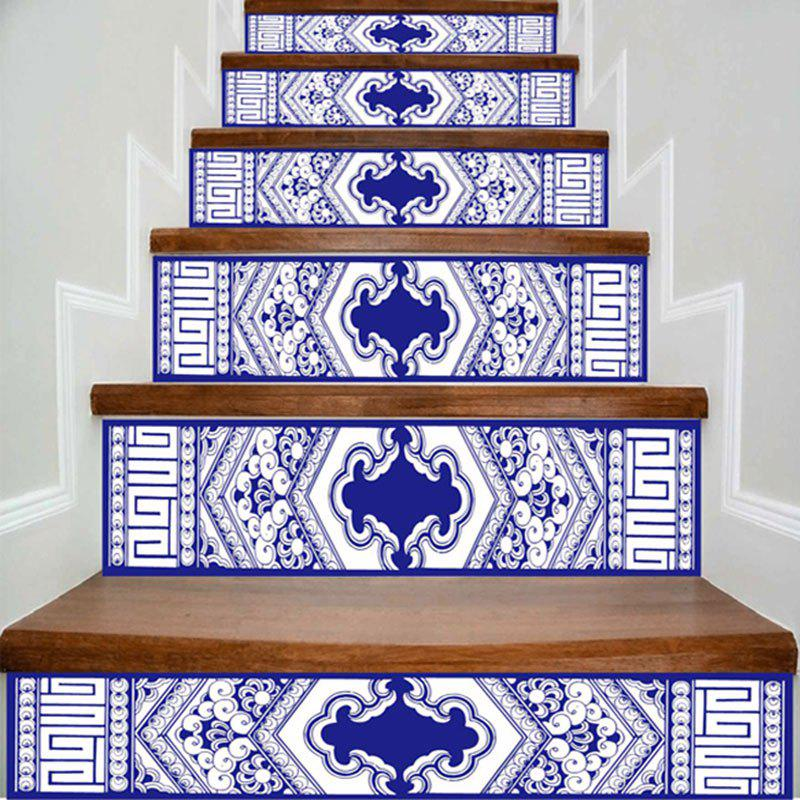 Geometric Print DIY Decorative Stair Stickers - BLUE/WHITE 100*18CM*6PCS