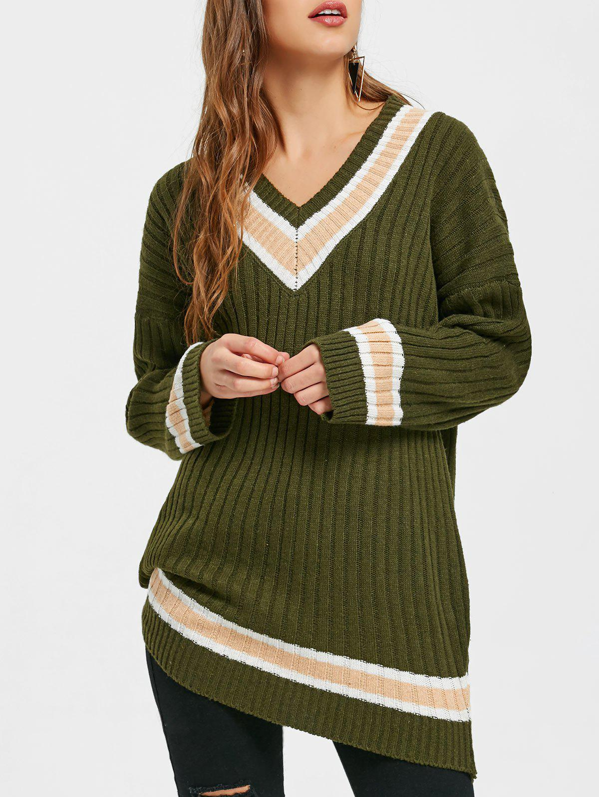Ribbed V Neck Shift Tunic Sweater - ARMY GREEN ONE SIZE