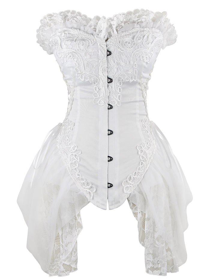 Lace Asymmetric Waist Training Corset - WHITE S