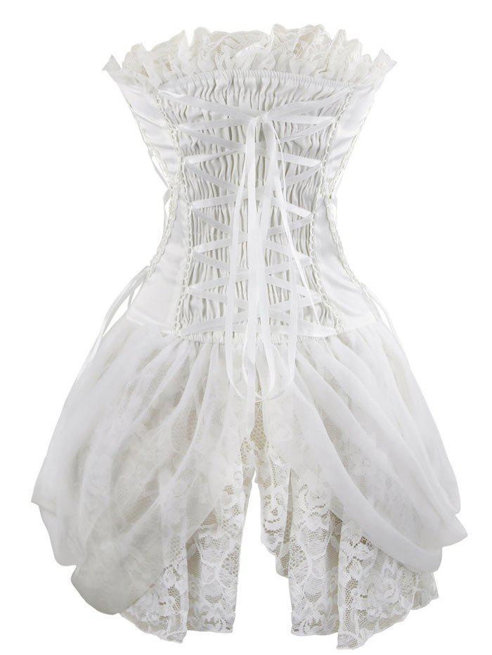 Lace Asymmetric Waist Training Corset - WHITE L