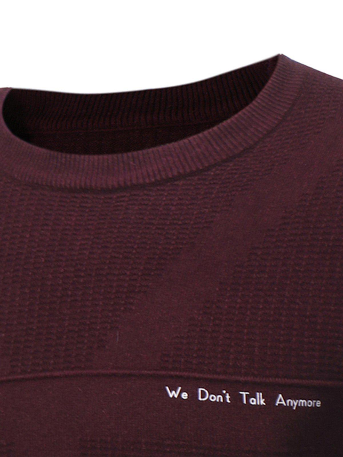 Graphic Print Jacquard Pullover Sweater - WINE RED L